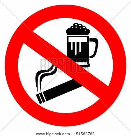 No alcohol and smoking sign vector illustration isolated on white background