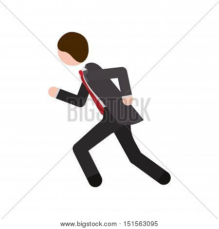 man formal suit gray with quickly vector illustration