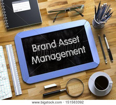 Brand Asset Management on Small Chalkboard. Small Chalkboard with Brand Asset Management Concept. 3d Rendering.