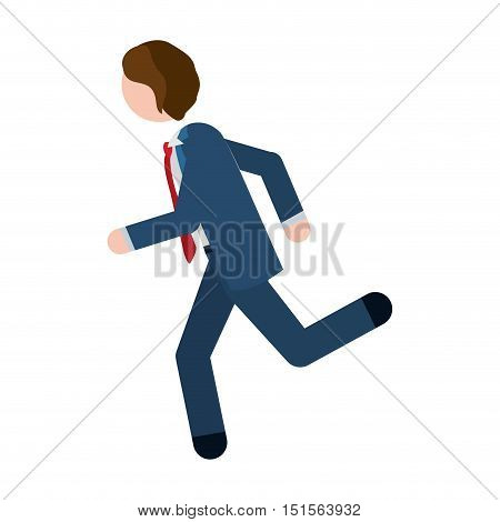man formal suit blue with quickly vector illustration