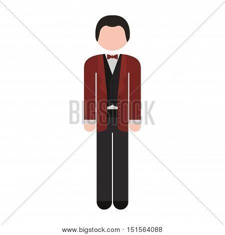 full body man formal suit bowtie vector illustration