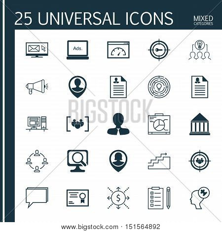 Set Of 25 Universal Icons On Laptop, Conference, Female Application And More Topics. Vector Icon Set