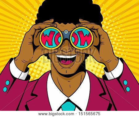 Wow Pop Art Man. Young Surprised Afro American Man In Suit With Open Mouth Holding Binoculars In His