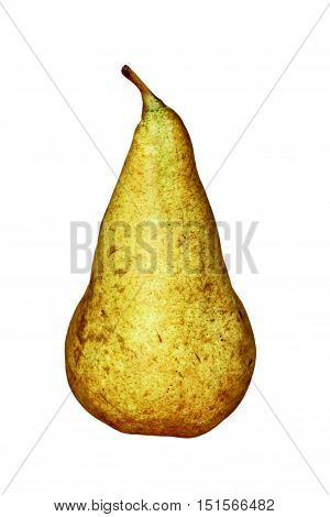 Appetizing sweet pear isolated on white background taken closeup.