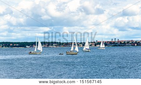 Yachts in Oresund Strait between Helsingor and Helsingborg, Denmark - Sweden