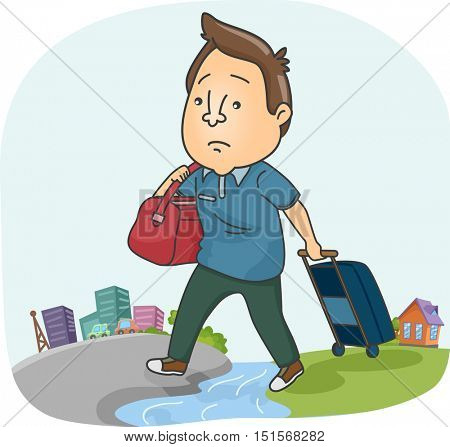 Illustration of a Sad Man Dragging a Suitcase While Moving to a New City