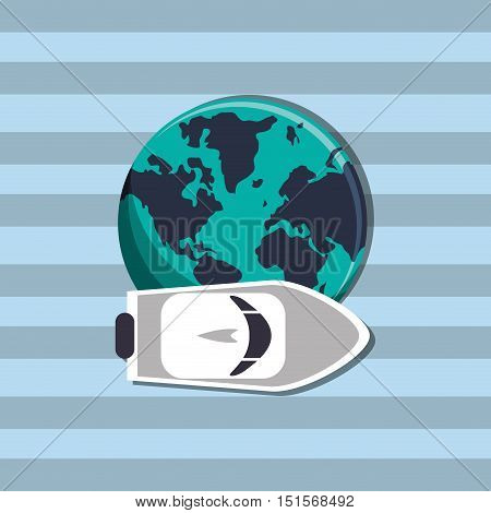 earth globe with nautical sea life related icons image vector illustration design