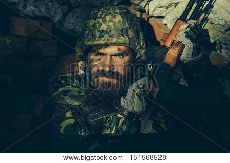 Soldier With Angry Face