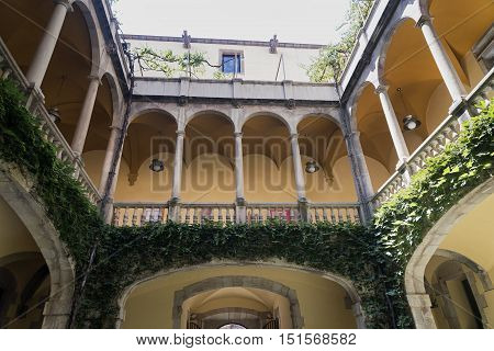 BARCELONA, SPAIN - JULY 12, 2016: Barcelona (Catalunya Spain): courtyard of the historic Palace of Lloctinent in the gothic quarter