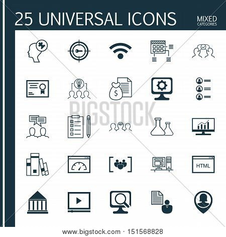 Set Of 25 Universal Icons On Certificate, Computer, Coding And More Topics. Vector Icon Set Including Market Research, Collaborative Solution, Discussion And Other Icons.