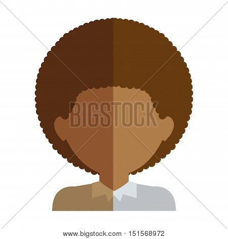 half body man half brunette and caucasian curly hair vector illustration
