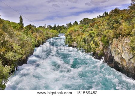 Huka Falls On The Waikato River, Taupo North Island, Nz