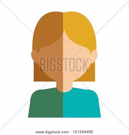 half body gilr half blonde and caucasian vector illustration