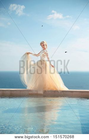 Beauty Portrait Of Gorgeous Bride In Wedding Dress With Blowing Skirt Walking On Infinity Swimming P