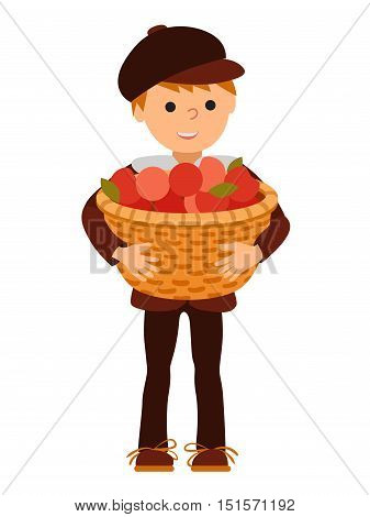 Vector illustration cute little boy holding a big basket with apples isolated on white background
