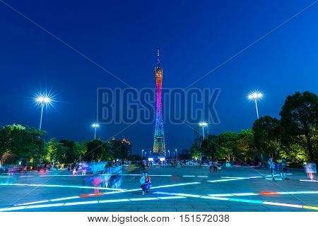 GUANGZHOU CHINA - OCTOBER 4:: Dusk view of the Canton tower as seen from the Flower Square in Guangzhou China on Octover 4 2016.