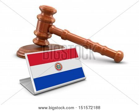 3D Illustration. 3d wooden mallet and Paraguayan flag. Image with clipping path