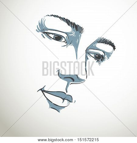 Hand-drawn portrait of white-skin sorrowful woman sad face emotions theme illustration.