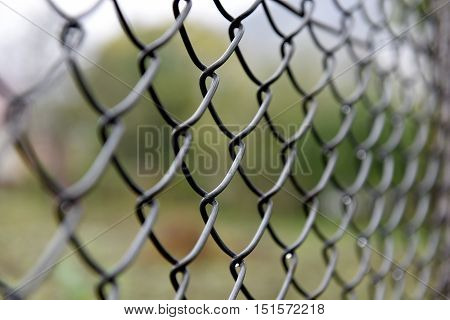 Detail of twisted wire fence. Shallow depth of field