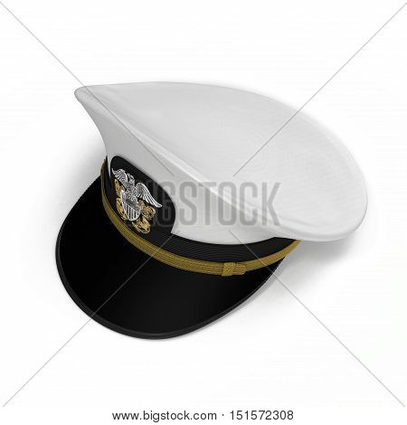 Peak admiral Cap bottom on white background. 3D illustration