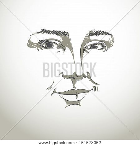 Hand-drawn monochrome portrait of white-skin flirting woman face emotions theme illustration.