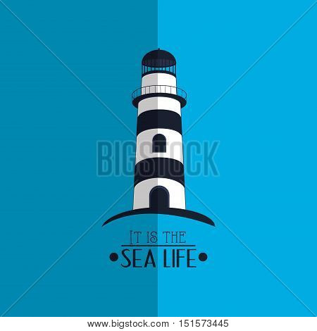 lighthouse with nautical sea life related icons image vector illustration design