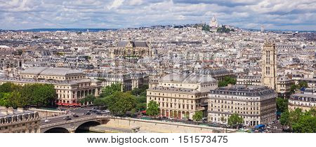 Beautiful panorana of Paris seen from the Notre Dame Cathedral. Paris France