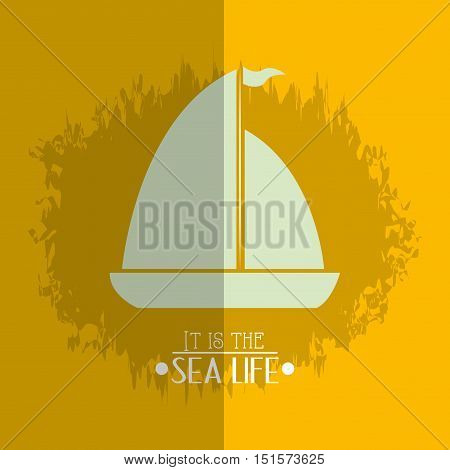 boat or ship with nautical sea life related icons image vector illustration design
