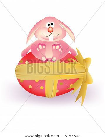Colorful Easter egg with ribbon and Bunny Rabbit