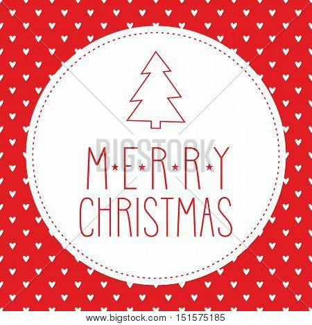 Holidays vector card with christmas tree and hand drawn Merry Christmas wishes on hearts red background