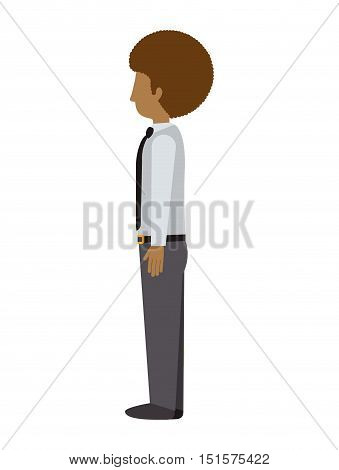 man standing with left profile afro vector illustration