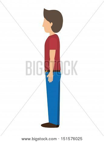man standing with left profile t-shirt vector illustration
