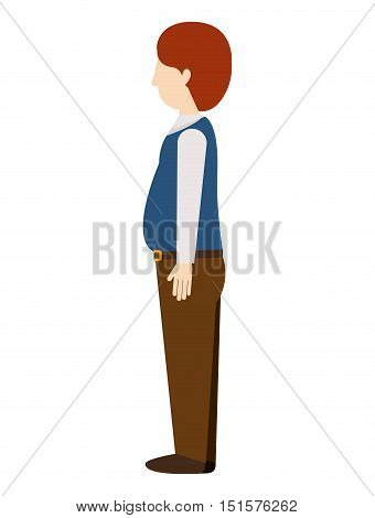 woman standing with left profile redhead pregnant vector illustration