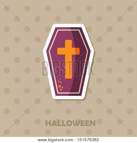 Coffin vector icon. Halloween sticker, eps 10