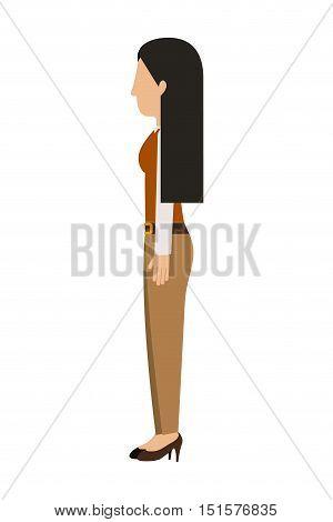 woman standing pants left profiles long hair vector illustration