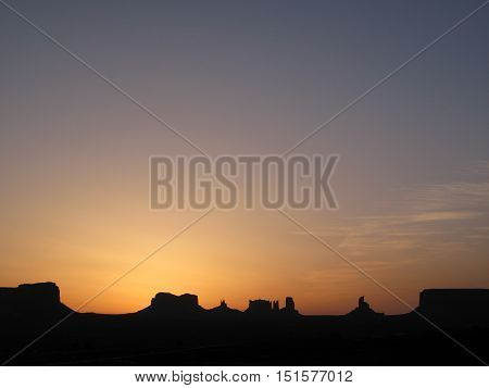 Sunrise over Monument Valley, Arizona, USA. Photo taken around 5:00 am. Natural colors and light.