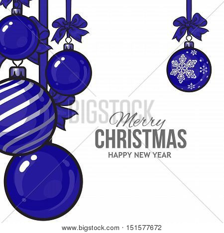 Blue Christmas balls with ribbon and bows, vector greeting card template. Set of blue Christmas decoration balls, solid, striped and with a snowflake, New Year greeting card template