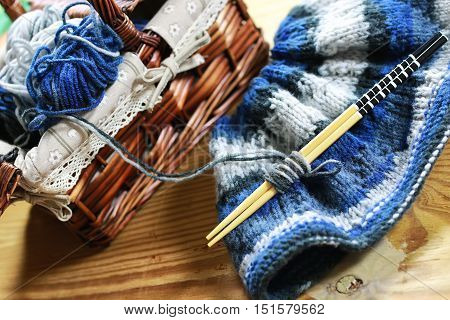 knitting wool color ball concept of hobby