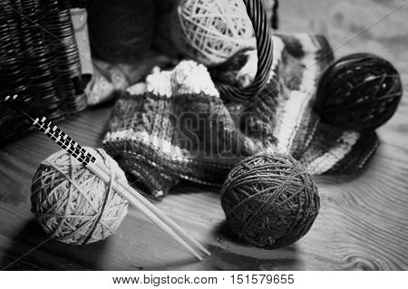 hobby black and white ball wool concept of hobby