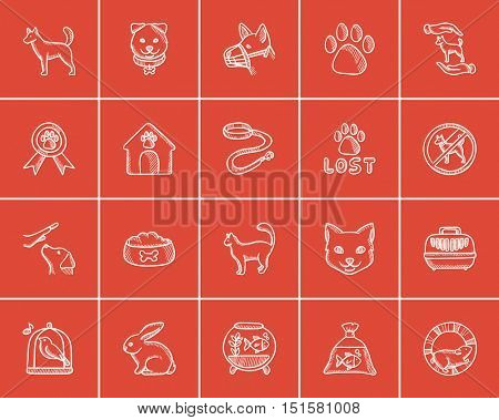 Pets sketch icon set for web, mobile and infographics. Hand drawn pets icon set. Pets vector icon set. Pets icon set isolated on red background.