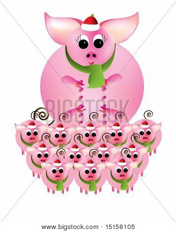 A group of pink piggies in Christmas attire