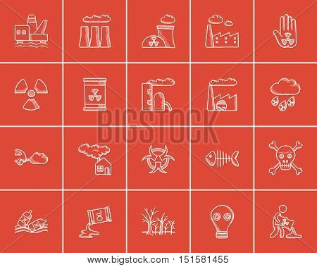 Ecology sketch icon set for web, mobile and infographics. Hand drawn ecology icon set. Ecology vector icon set. Ecology icon set isolated on red background.