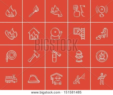 Fire sketch icon set for web, mobile and infographics. Hand drawn fire icon set. Fire vector icon set. Fire icon set isolated on red background.