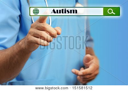 Doctor working with virtual screen. Children autism concept