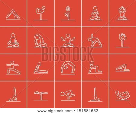 Yoga sketch icon set for web, mobile and infographics. Hand drawn yoga icon set. Yoga vector icon set. Yoga icon set isolated on red background.