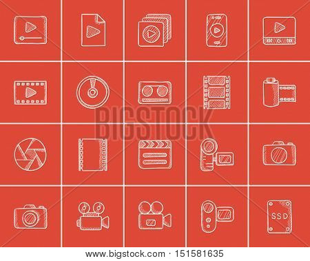 Media sketch icon set for web, mobile and infographics. Hand drawn media icon set. Media vector icon set. Media icon set isolated on red background.