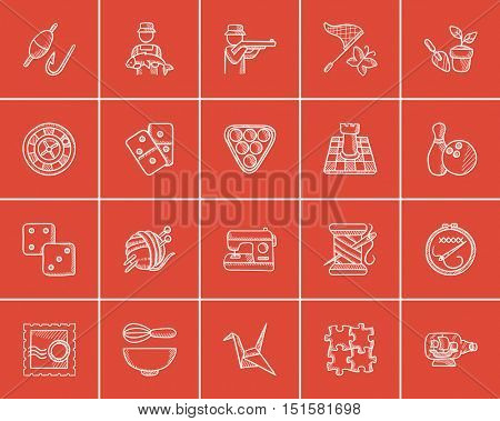 Hobby sketch icon set for web, mobile and infographics. Hand drawn hobby icon set. Hobby vector icon set. Hobby icon set isolated on red background.