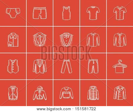 Clothes for men sketch icon set for web, mobile and infographics. Hand drawn clothes for men icon set. Clothes for men vector icon set. Clothes for men icon set isolated on red background.