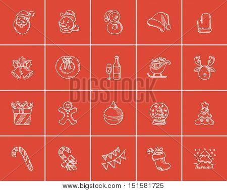 Christmas sketch icon set for web, mobile and infographics. Hand drawn christmas icon set. Christmas vector icon set. Christmas icon set isolated on red background.