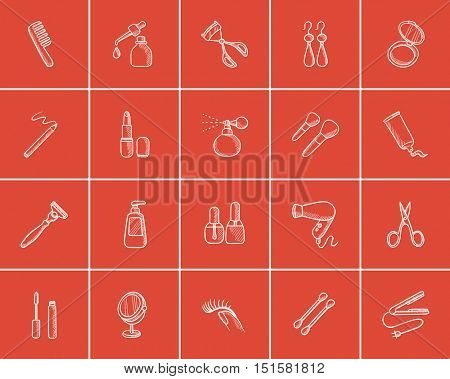Beauty sketch icon set for web, mobile and infographics. Hand drawn beauty icon set. Beauty vector icon set. Beauty icon set isolated on red background.